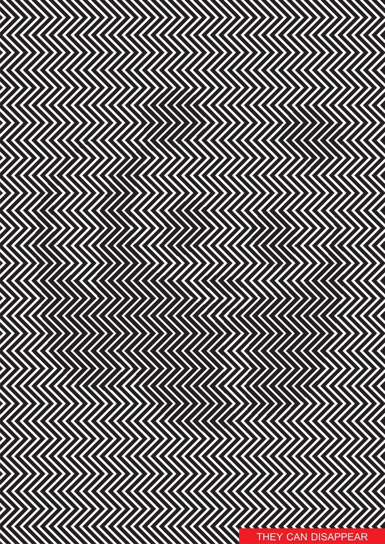 Värisevää siksak-kuvioita julisteessa. Kauempaa katsottuna näkyy Panda-karhu.