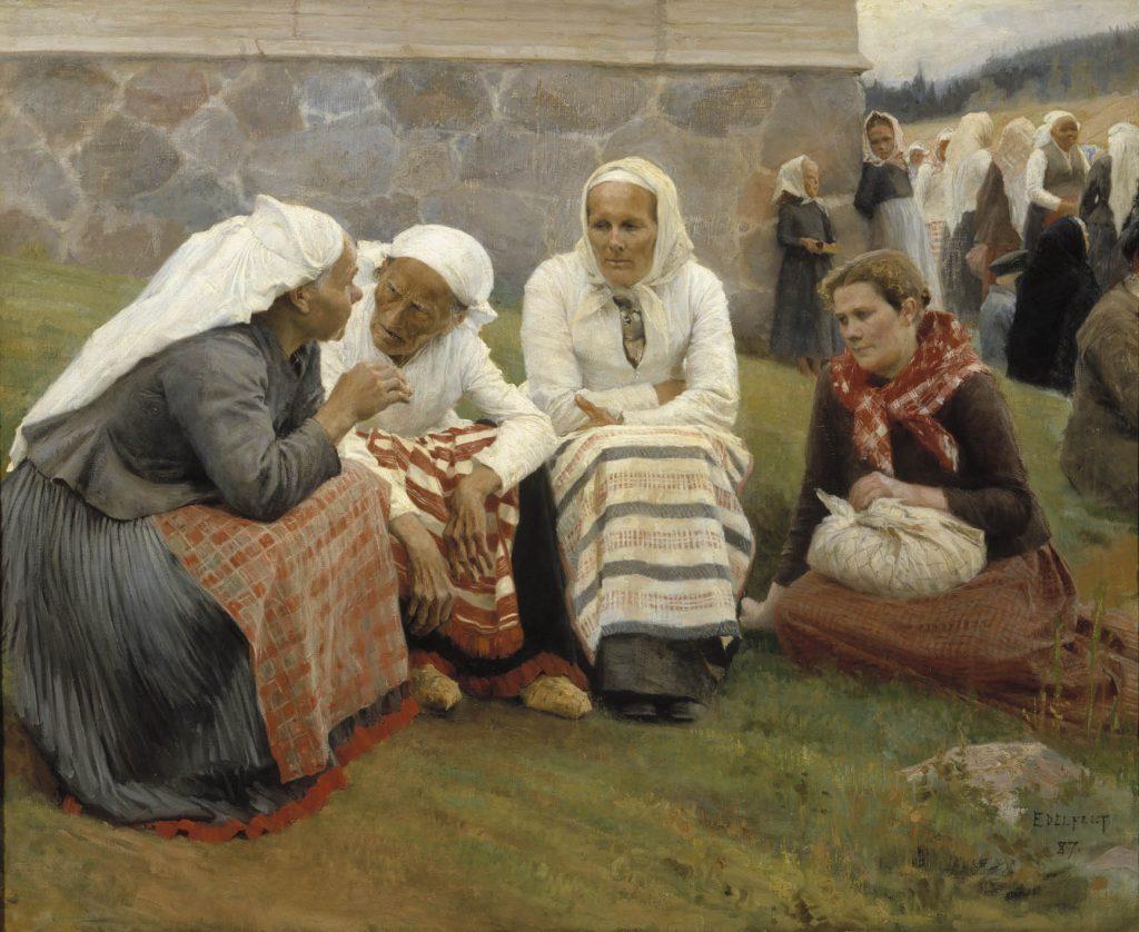 Maalaus, jossa neljä naista keskustelee kirkon edustalla. Naisista kolmella on päässään liina, kaikilla on essu.