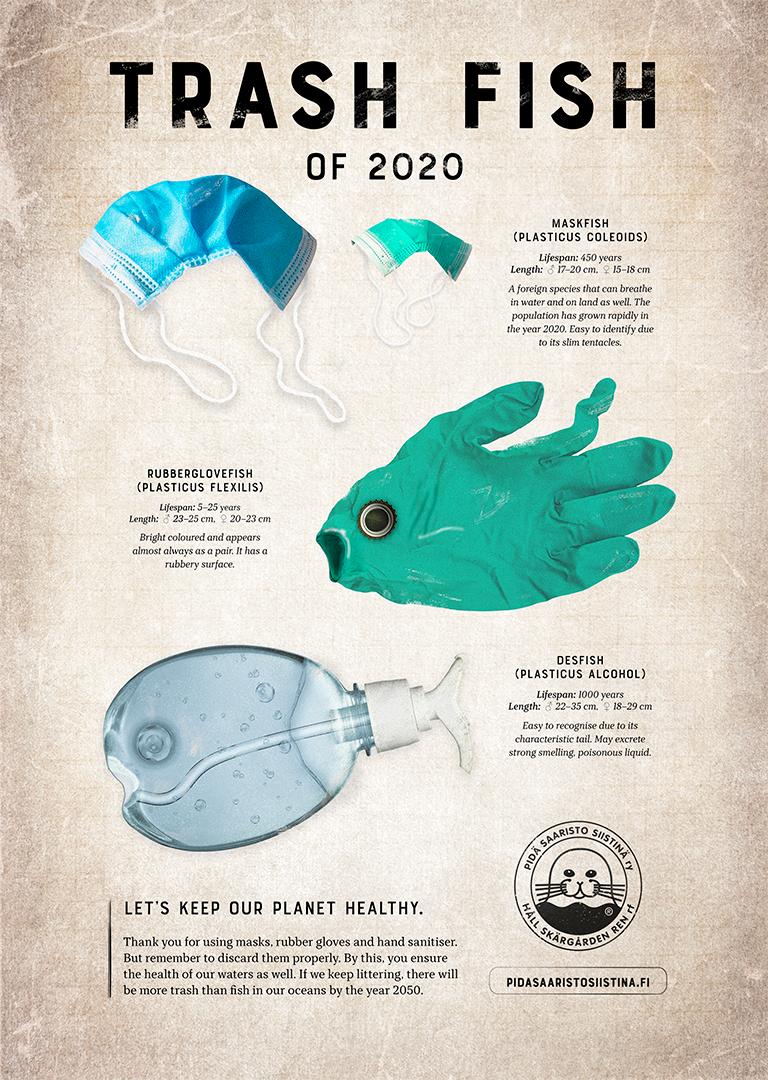 Julisteessa kasvomaski, kumihanska ja käsidesipullo, jotka esitetään meren kaloina.